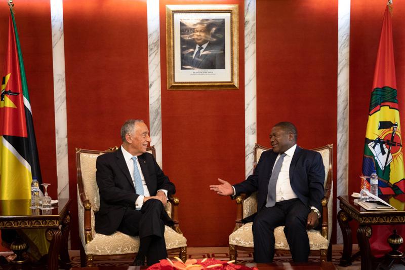 Presidente de Portugal, Marcelo Rebelo de Sousa, com homólogo moçambicano, Filipe Nyusi